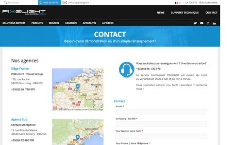 Screenshot of Contact Page pixelight.fr - Contact, Démonstration et SAV | PIXELIGHT - captured Oct. 15, 2016