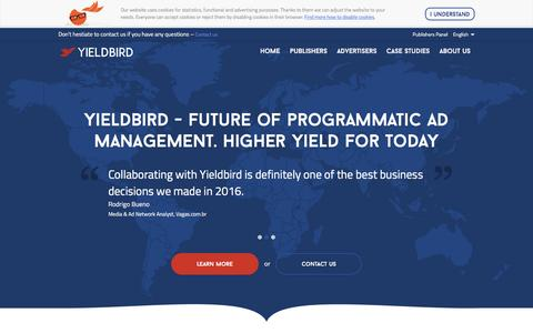 Screenshot of Home Page yieldbird.com - Yieldbird – programmatic yield manager - captured Jan. 1, 2017