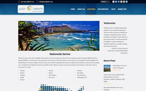 Screenshot of Locations Page justrightdm.com - Nationwide Destination Management   Just Right! Destination Management - captured Oct. 6, 2014