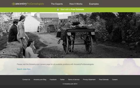 Screenshot of Jobs Page progenealogists.com - Careers - AncestryProGenealogists - captured Oct. 31, 2014