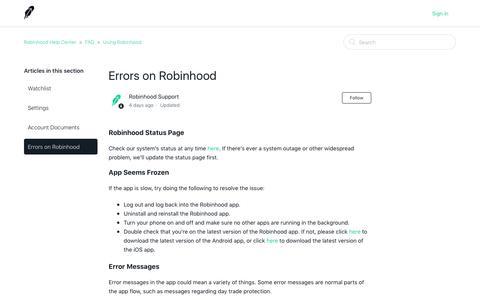 Errors on Robinhood – Robinhood Help Center