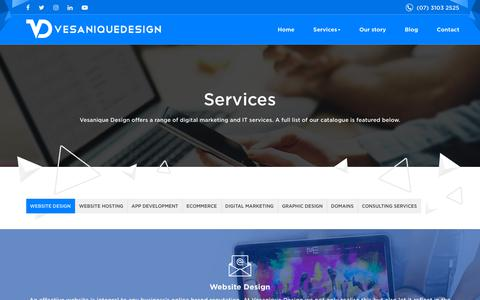 Screenshot of Services Page vesaniquedesign.com.au - Services - Vesanique Design - captured Sept. 21, 2018