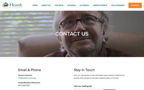 Screenshot of Contact Page hearth-home.org - Hearth, Inc - ending elder homelessness | Contact Us — Hearth, Inc. - captured Aug. 10, 2019
