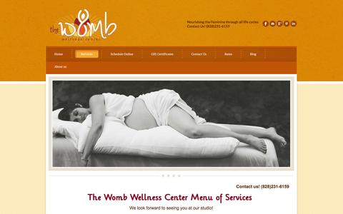 Screenshot of Services Page thewombwellnesscenter.com - Services - The Womb Wellness Center - captured Oct. 29, 2014