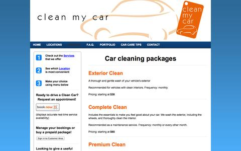 Screenshot of Services Page ecofriendlycarwash.net - Services - Your on-site car cleaning and detailing service in the Greater Vancouver area - captured Sept. 29, 2014