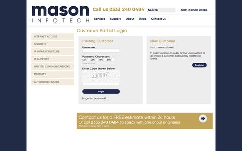 Screenshot of Login Page masoninfotech.co.uk - IT Infrastructure Support - captured Oct. 17, 2018