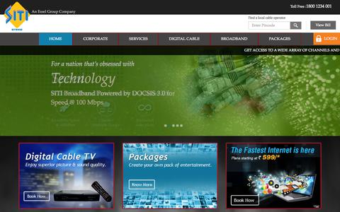 Screenshot of Home Page siticable.com - SITI Cable –India's leading Multi System Operator | Digital Cable TV Services - captured Jan. 26, 2015