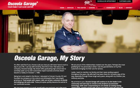 Screenshot of About Page osceolagarage.com - Auto, Car Repair Shop | Mahopac, Putnam County, Westchester NY - captured Sept. 30, 2014