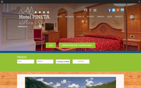 Screenshot of Press Page hotelpineta.net - News - Hotel Wellness Pineta - Marmolada - captured Oct. 1, 2014