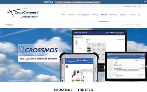 Screenshot of Products Page crossconsense.com - CROSSMOS - ACSIS - ILS - Aircraft Status Apps - captured Sept. 29, 2018