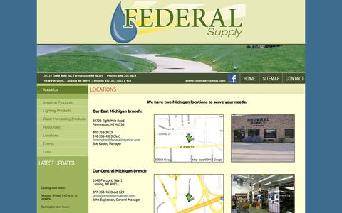 Screenshot of Locations Page federalirrigation.com - Federal Supply - captured Oct. 6, 2014