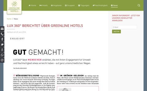 Screenshot of Press Page greenline-hotels.de - News und Pressemitteilungen der GreenLine Hotels - captured Nov. 16, 2016