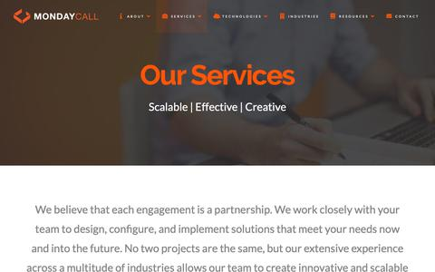 Screenshot of Services Page mondaycall.com - Services | MondayCall, LLC - captured Oct. 18, 2018