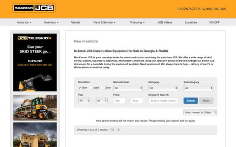 Screenshot of Products Page mackinnonjcb.com - In-Stock JCB Construction Equipment for Sale in Georgia & Florida - captured Oct. 1, 2018