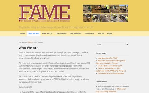 Screenshot of About Page famearchaeology.co.uk - Who We Are | Federation of Archaeological Managers and Employers - captured Oct. 5, 2014