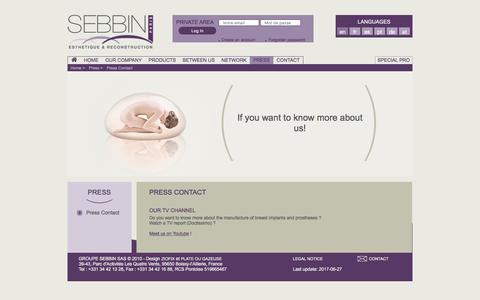 Screenshot of Press Page sebbin.com - Press Contact - Press - captured Aug. 2, 2017