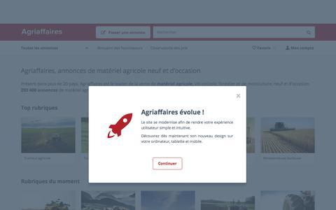 Screenshot of Home Page agriaffaires.com - Matériel agricole d'occasion ou neuf, annonces agricoles - Agriaffaires - captured July 4, 2018