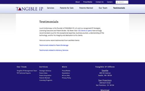 Screenshot of Testimonials Page tangibleip.biz - Testimonials - TangibleIPTangibleIP - captured Dec. 11, 2016
