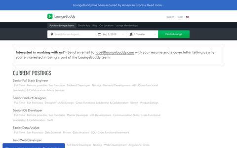 Screenshot of Jobs Page loungebuddy.com - Jobs | LoungeBuddy - captured Sept. 1, 2019