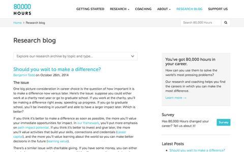 Screenshot of Blog 80000hours.org - Research blog - 80,000 Hours - captured Oct. 29, 2014