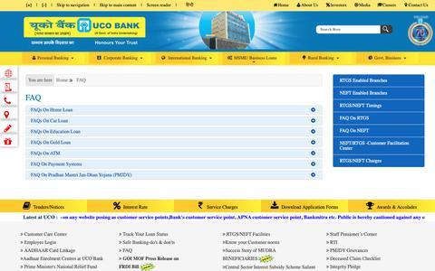 Screenshot of FAQ Page ucobank.com - UCO Bank- faq - captured June 6, 2019