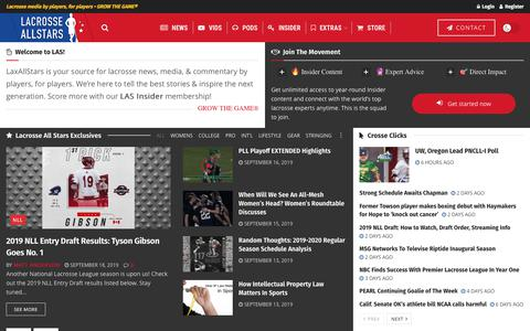 Screenshot of Home Page laxallstars.com - LaxAllStars • Lacrosse media by players, for players • Grow The Game® - captured Sept. 18, 2019