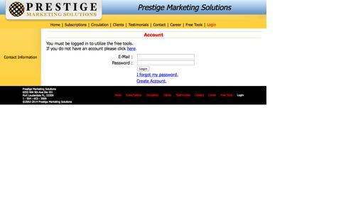 Screenshot of Login Page prestigehq.com - Prestige - captured Oct. 3, 2014