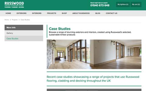 Screenshot of Case Studies Page russwood.co.uk - Case Studies Illustrating the Range of Russwood Products - captured Feb. 17, 2016
