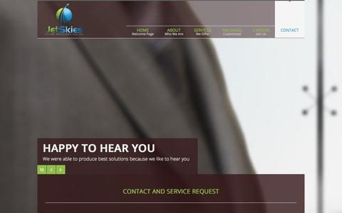 Screenshot of Contact Page jetskies.co - Contact | JetSkies Flying Solutions Pvt. Ltd. - captured Oct. 6, 2014