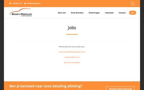 Screenshot of Jobs Page bodyrepair.be - Jobs - Carrosserie BodyRepair - captured July 31, 2018