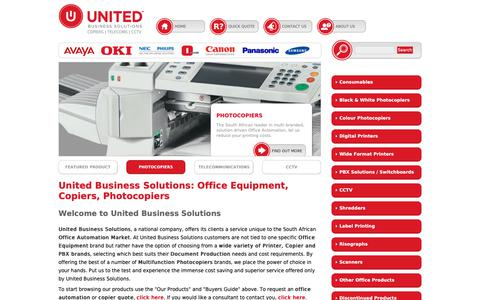 Screenshot of Home Page unitedbusiness.co.za - Copiers, Photocopier supplier, Multifunctional office automation | United Business, Office Equipment Solutions   Provider. Request Quotes and Order online. - captured Oct. 20, 2018