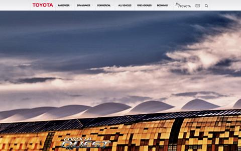 Screenshot of Home Page toyota.co.za - Toyota South Africa | Home of the Toyota Corolla, Hilux Bakkie, 4x4 Land Cruiser and many more of SA's favourite vehicles - Toyota South Africa - captured Sept. 23, 2014