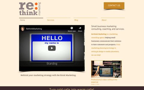 Screenshot of Home Page rethink-marketing.com - Rethink Marketing - Small Business Marketing Consulting - captured Oct. 18, 2018