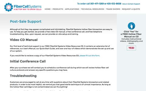 Screenshot of Support Page fibercellsystems.com - Post-Sale Support - FiberCell Systems - captured Feb. 10, 2016