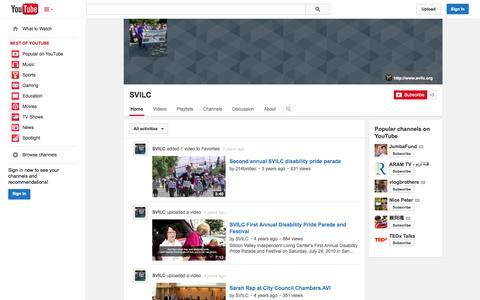 Screenshot of YouTube Page youtube.com - SVILC  - YouTube - captured Oct. 26, 2014