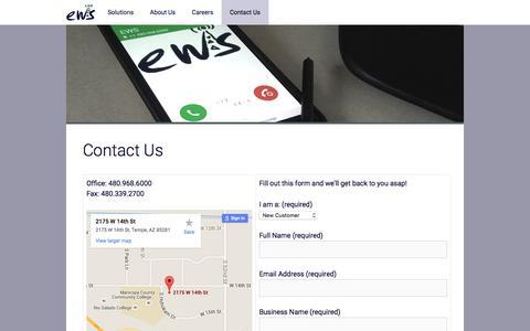 Screenshot of Contact Page engineeringwireless.com - Contact Us – Engineering Wireless Services - captured Jan. 29, 2016