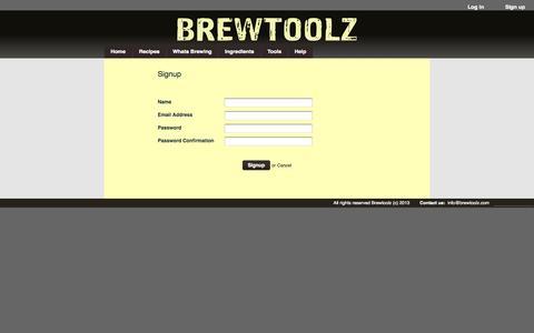 Screenshot of Signup Page brewtoolz.com - Signup : Brewtoolz - captured Sept. 30, 2014