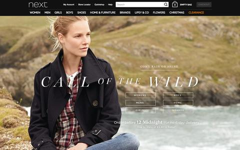 Screenshot of Home Page next.co.uk - Next Official Site: Womens & Mens Fashion, Kids Clothes & Homeware - captured Oct. 26, 2015