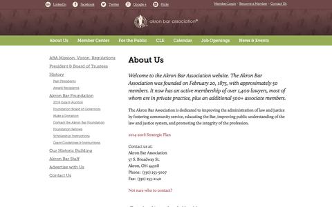 Screenshot of About Page akronbar.org - About Us - Akron Bar Association - captured Feb. 5, 2016