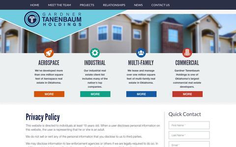 Screenshot of Privacy Page gthokc.com - Privacy Policy   Gardner Tanenbaum - captured Sept. 27, 2018