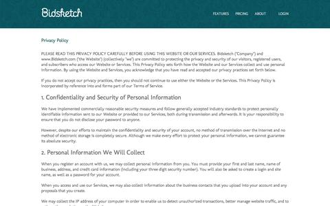 Screenshot of bidsketch.com - Privacy - captured Oct. 2, 2015