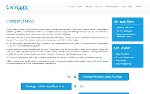 Screenshot of About Page corriganrecords.com - Corrigan Record Storage - Company History - captured Oct. 3, 2014