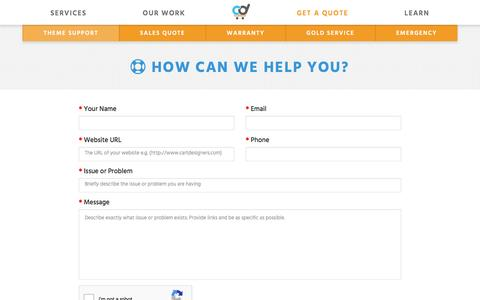 Screenshot of Support Page cartdesigners.com - Support : Bigcommerce & Ecommerce Experts in Custom Web Design | Cart Designers - captured Dec. 7, 2015
