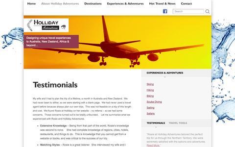 Screenshot of Testimonials Page hollidayadventures.com - Testimonials - Holliday Adventures - captured Sept. 30, 2014