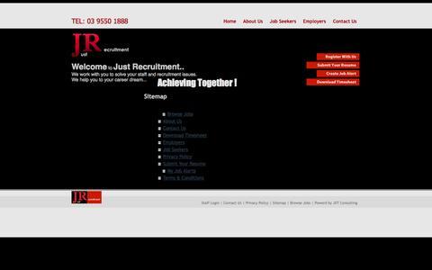 Screenshot of Site Map Page justrecruitment.com.au - Admin Jobs | Accounts Jobs | Engineering Jobs | Customer Service Jobs | Production Jobs | Marketings Jobs | | Just Recruitment - South East Melbourne Recruitment Agency - captured Oct. 6, 2014