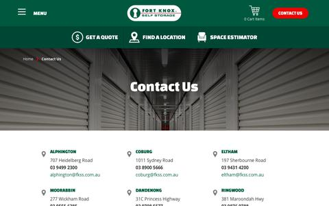 Screenshot of Contact Page fortknoxselfstorage.com.au - Contact Us | Fort Knox Self Storage - captured Aug. 20, 2018