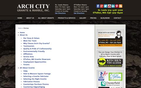 Screenshot of Site Map Page archcitygranite.com - Arch City Granite & Marble - User Sitemap - captured Oct. 4, 2014