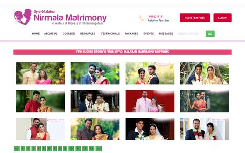 Screenshot of Testimonials Page nirmalamatrimony.com - Nirmala Matrimony | Diocese of Kothamankalam Matrimony Service-Success Stories in Syro-Malabar Matrimony - Catholic Matrimony, Christian Matrimony, Kerala Catholic Matrimonial - captured Oct. 23, 2018