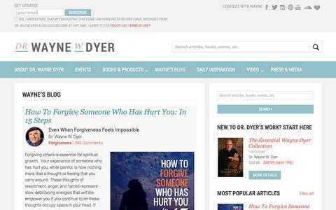 Screenshot of Blog drwaynedyer.com - Wayne Dyer - The Official Wayne Dyer Blog - captured Sept. 25, 2018