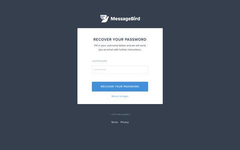 Recover your password - MessageBird